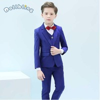 Children Suits Set Boy Blue Red Blazers Suit Teenagers Jacket Clothes Kids Gentleman Party Costume Formal Boys Suits For Wedding