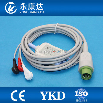 2pcs/pack Free shipping For 10pin one piece 3-lead patient ECG cable with AHA Snap leadwires