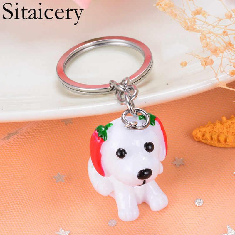 Sitaicery สุนัข Key CHAIN พวงกุญแจใหม่แหวนแฟชั่นเครื่องประดับสำหรับหญิงสาวคนรักรถกระเป๋าคริสต์มาสของขวัญแหวนผู้หญิง