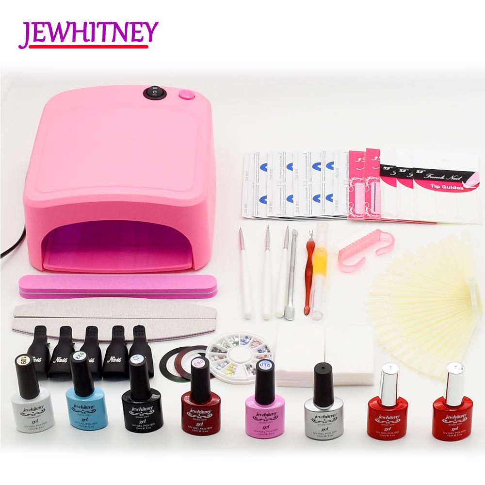 6 Color Nail Gel Varnish Polish Manicure set With 36W UV Lamp LED Nail Dryer nail art Manicure tools nail sets kits em 128 free shipping uv gel nail polish set nail tools professional set uv gel color with uv led lamp set nail art tools