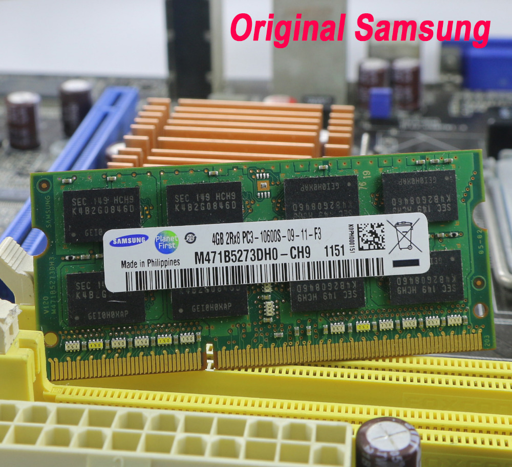 Original Samsung Laptop speicher DDR3 4 gb 2 gb 1 gb 1066 1333 1600 mhz PC3-10600 8500 12800 notebook RAM 10600 s 2g 4g für intel amd