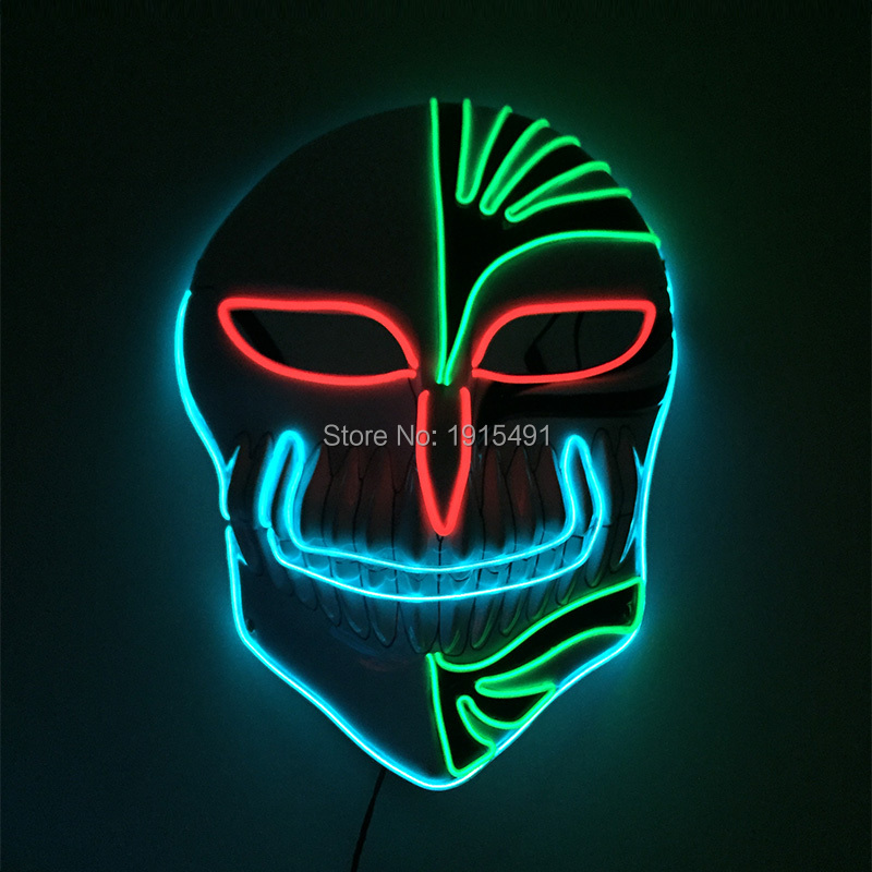 Anime Party Holiday Lights BLEACH Led Rope Tube Luminous Mask Neon EL Cold Light Vizards Kurosaki Ichigo Cosplay Accessory Mask