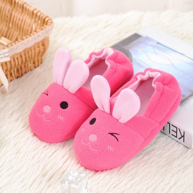 Patrón Del Conejo Animal lindo Niños Zapatillas Zapatillas de Casa de Niños Para Niñas Casa Los Zapatos de Interior de Invierno Cálido Dormitorio Bebé Pisos 2016