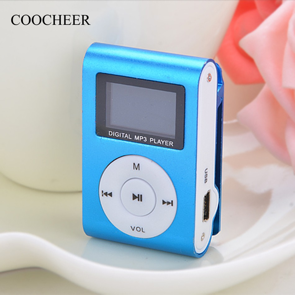 2018 Blue Mini Clip Mp3 Player Electronic Sports Metal MP3 Music Player LCD Screen Support 32GB Micro SD TF Card with usb cable стоимость