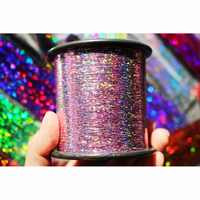 Tigofly 1 Spool 7000-12000m 0.25mm Flashabou Holographic Tinsel Laser Flat Mylar Tinsel Sparkle Crystal Flash Fly Tying Material