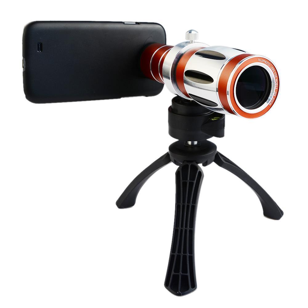 Handy universal 20x camera zoom optische teleskop aluminium teleobjektiv kit + stativ für iphone5 6 samsung htc blackberry - 6