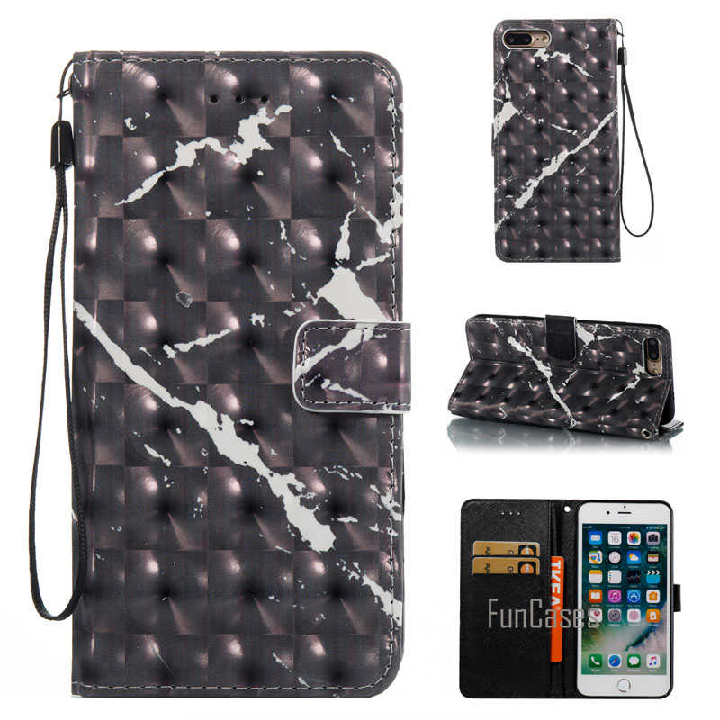 Custodie del telefono Per Il Iphone 7 Plus 3D di Pietra di Marmo Granito DELL'UNITÀ di elaborazione di Vibrazione del Cuoio di Caso Del Basamento Del Raccoglitore Della Copertura Per Iphone7 Più 5.5 Pollici Coque