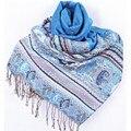 Venta caliente Clásico Azul Claro Reversible Dos Caras Pashmina Mantón de Las Mujeres Bufandas de La Bufanda Tamaño 70x190 cm