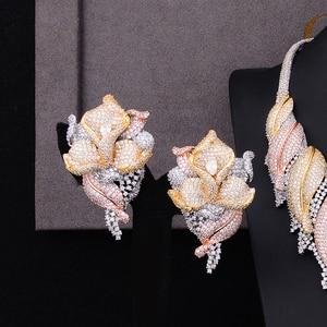 Image 3 - GODKI Trendy Luxury 4PCS Flower Nigeria Statement Jewelry Sets For Women Wedding Full Cubic Zircon Dubai Bridal jewelry Set 2019