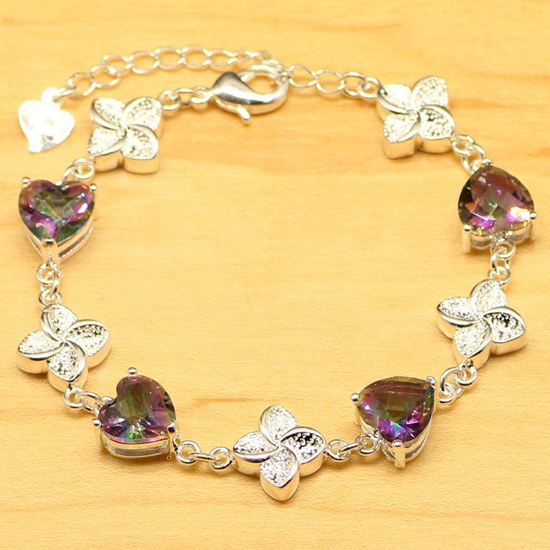 Heart Genuine Mystical Rainbow CZ Bracelet 925 Sterling Silver Vane Type Solid Christmas Gifts For Women
