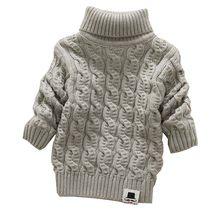 4e7b8c673 Niños Niñas cuello alto con barba etiqueta solid bebé niños Suéteres suave  caliente sueter infantil de los niños del invierno de.
