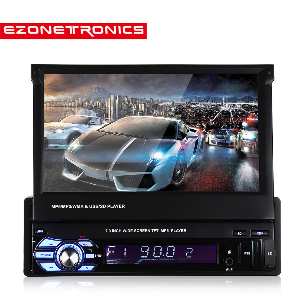 Car Radio Stereo GPS Universal 7slip down Touch Screen 1DIN Remote Control FM Bluetooth MP3 MP5 Audio Video Player no dvd