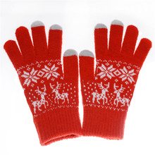 Jacquard Knit Screen Touch Keep Warm Thick Deer Elk Snowflake Fashion Winter Adult Woman Man Gloves Mittens Accessories-DQC