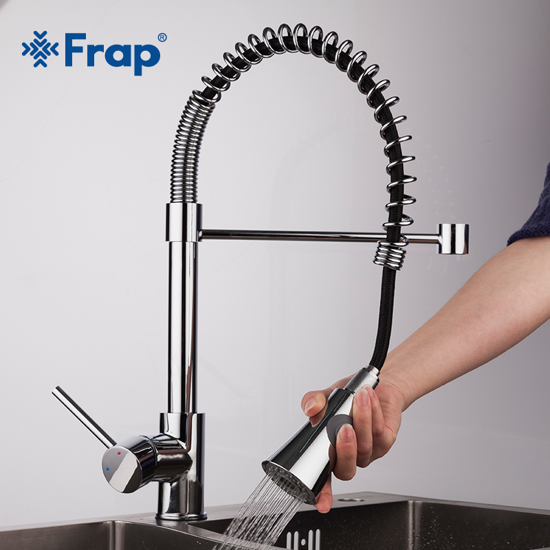 Frap Spring Kitchen faucet Swivel Spout Single Handle Tap Pull out Spray Sink Chrome With Push Button Pull Down Faucets F4452