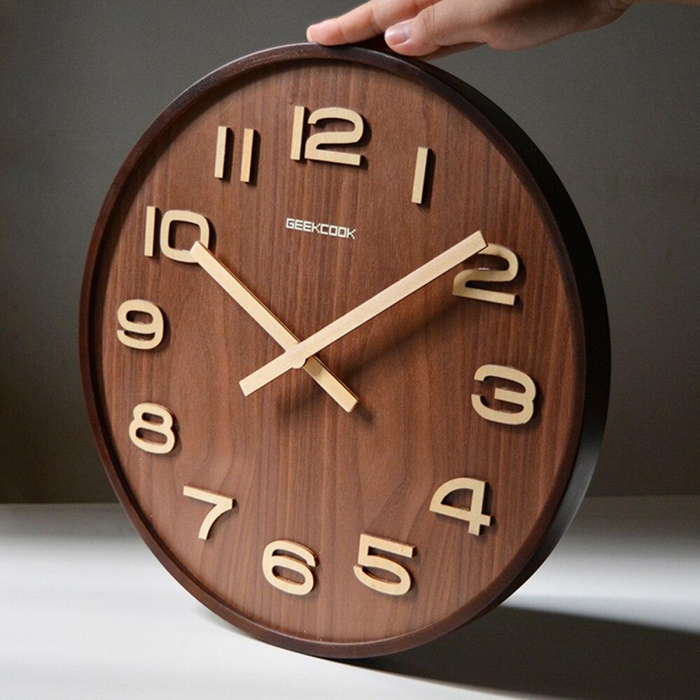 Large 14 Inch Bamboo Wood Wall Clock Simple Modern Design Watch Home Decor 3d Digital Wooden