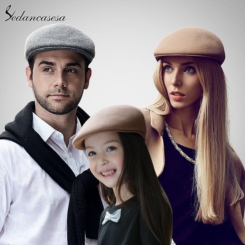 Sedancasesa Beret cap ear protect men cap Warm ivy Hat large size Classic  unisex Female Male Ivy Caps Children FW024001 bd092894685
