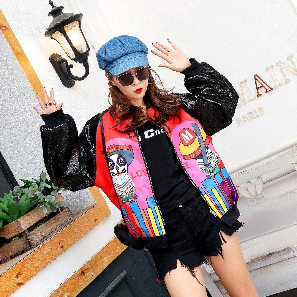 バットウィングスリーブプラスサイズルーズカーディガン女性ハイストリート漫画スパンコールコートノベルティパッチワークデザイン薄型コート  グループ上の レディース衣服 からの ベーシックジャケット の中 1