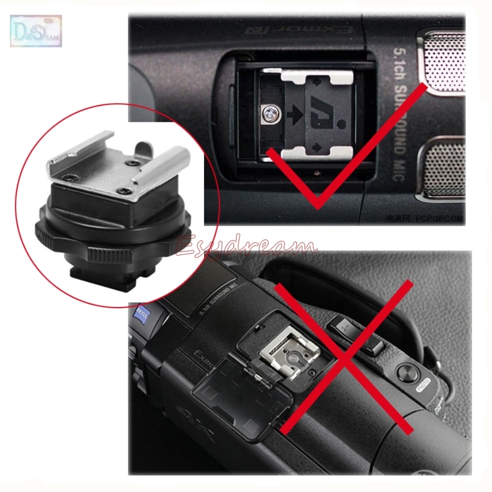 Silver Mini Standard Hot Cold Shoe Hotshoe Adapter Converter for Sony Active Interface Shoe DV Camcorder Mount