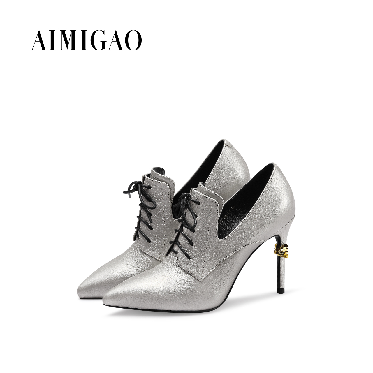 AIMIGAO Fashion lace-up boots women 2017 new sexy thin high heel women boots Genuine Leather pointed ankle boots autumn winter jialuowei women sexy fashion shoes lace up knee high thin high heel platform thigh high boots pointed stiletto zip leather boots