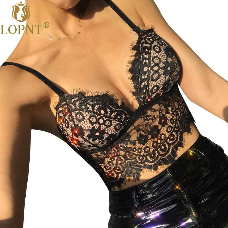 5d48b43b67 LOPNT New sexy bra black white deep-V lace bralette push up brasier mujer  crop