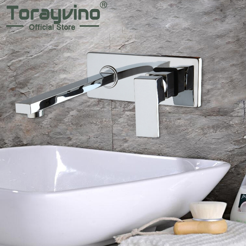 Contemporary Concealed Bathroom Basin Faucet Hot and Cold Water Bathroom Faucet Wall Mounted Mixer Tap torneira