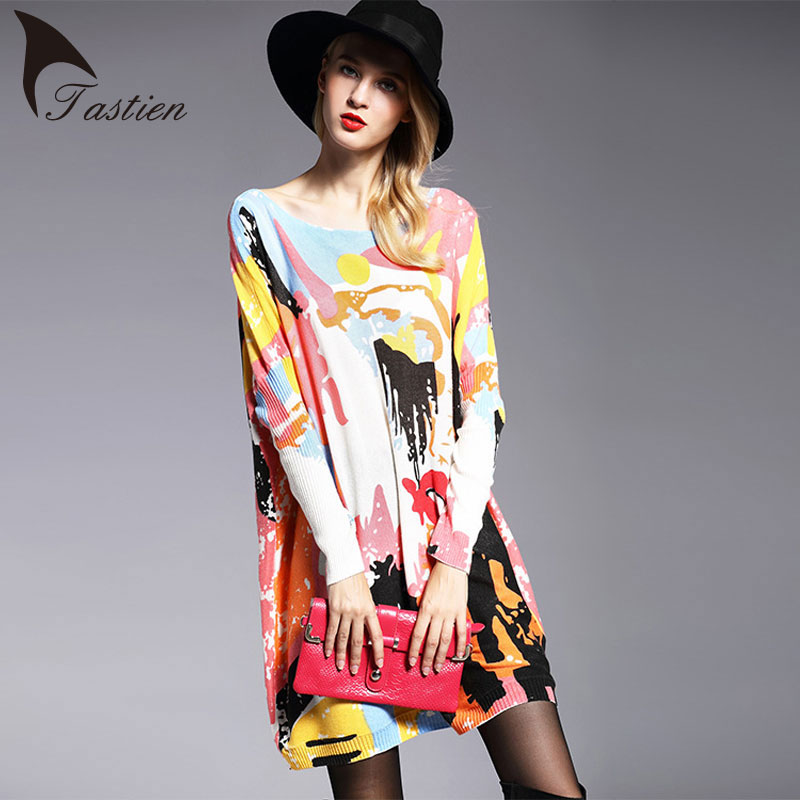 TASTIEN Big Size Newest Spring Autumn Winter Womens Fashion Loose Sweater Long Sleeve Elegent Knitwear Pullovers Lady Clothing