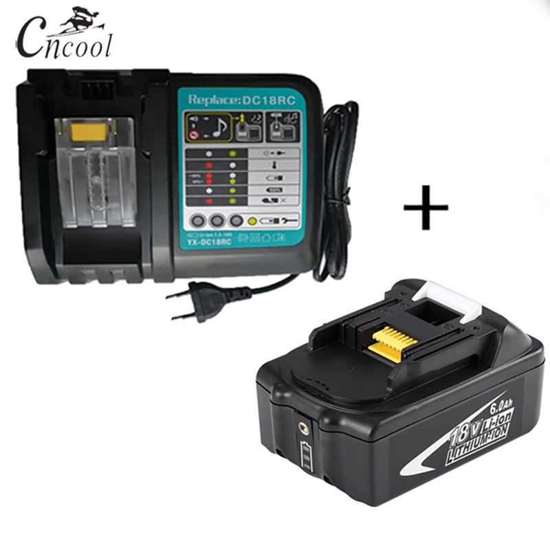 Cncool 18V Rechargeable Battery 6000mAh Li-Ion Battery Replacement Power Tool Battery for MAKITA BL1860 + EU/US/UK/AU ChargerCncool 18V Rechargeable Battery 6000mAh Li-Ion Battery Replacement Power Tool Battery for MAKITA BL1860 + EU/US/UK/AU Charger