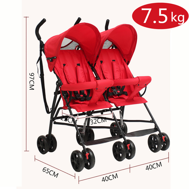 Cheap Baby Stroller Pram Twins,Super Lightweight Double Stroller about 7.5kg China Pushchair,Folding Baby Travel Stroller Summer
