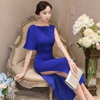 Dresses Female Summer 2019 Korean Edition New Slim Sexy Open Collar Fashion Slender Blue Dress Long