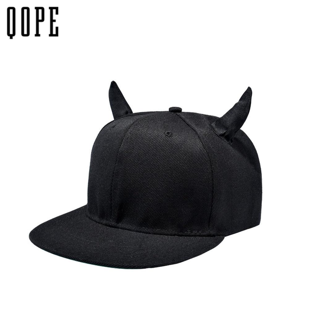 2017 Fashion women men black Cotton Baseball caps Hip-hop Cap Little Devil Horns snapback Cap dad hats adjustable Bone Gorras