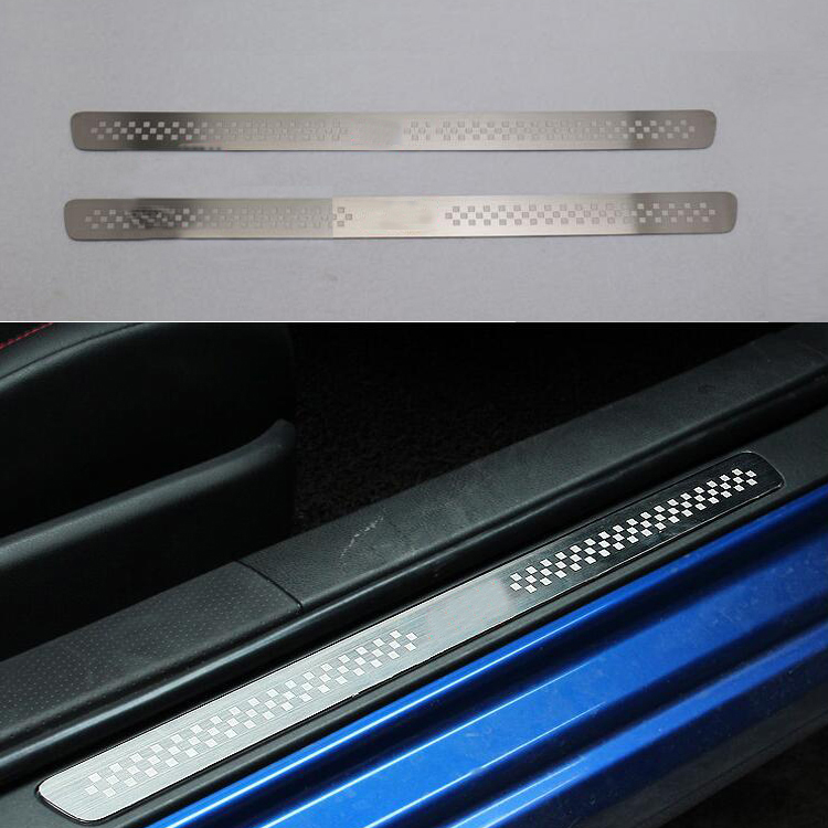 For TOYOTA 86 TRD Stainless Steel Scuff Plate Door Sill Ultrathin Threshold Strip Welcome Pedal Car Styling Accessories 2pcs/set jy sus304 stainless steel black door sill scuff plate molding trims car styling accessories for toyota hiace 200