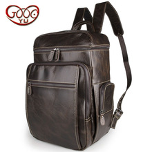 Fiery new casual vertical section square solid color leather backpack first layer of thick leather high