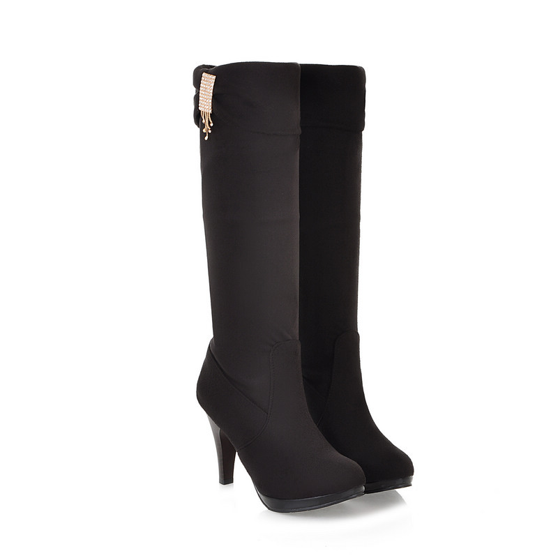 ARMOIRE Winter Hot Sexy Black Brown Women Knee High Riding Platform Boots Ladies Shoes High Heels A906 Plus Big Size 43 10 brand new fashion black yellow women knee high cowboy motorcycle boots ladies shoes high heels a 16 zip plus big size 32 43 10