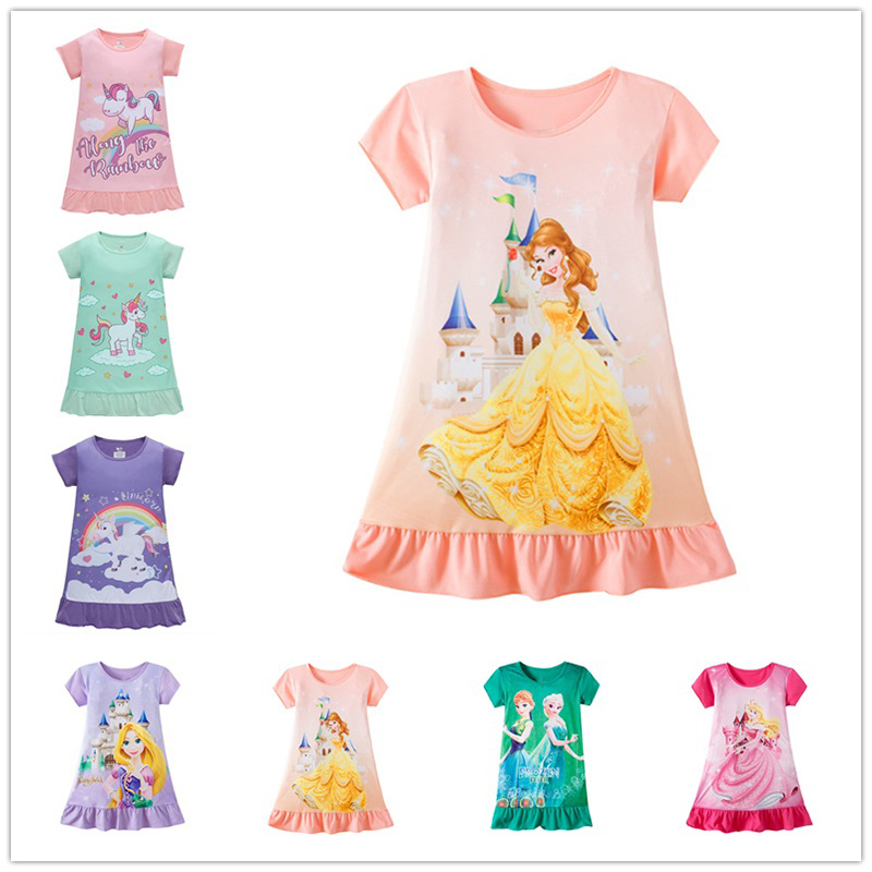 7 Styles Designs High Quality Unicorn Belle Princess Dress For Girls 3-9 Years Old