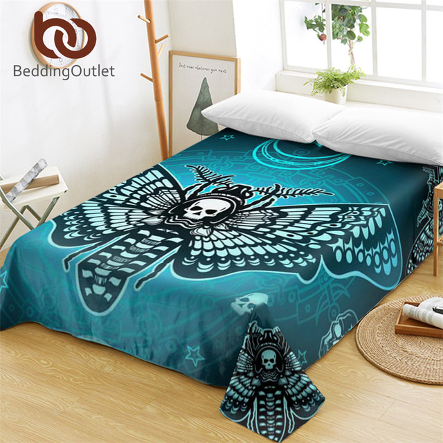 BeddingOutlet Death Moth Bed Sheets Gothic Skull Flat Sheet Butterfly Cool  Bed Linen Blue Stars Bedspreads