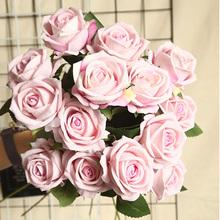 Sztuczne kwiaty flanelowe róże jedwabne kwiaty róże w dotyku przypominające prawdziwe różowe bukiet ślubny dekoracje domowe na przyjęcie sztuczny kwiat tanie tanio Prouddodiman MW1940 Kwiat Oddział Róża Jedwabiu Ślub 10 colors for your choosing 50 cm 19 68 inch 3 14 inch 1pc no vase