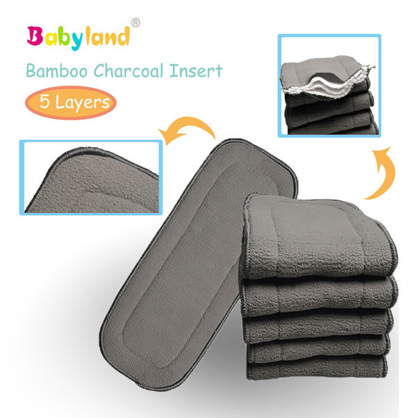 (10 pcs/lot)  Free Shipping Door to Door Organic cloth diaper Bamboo Charcoal Inserts