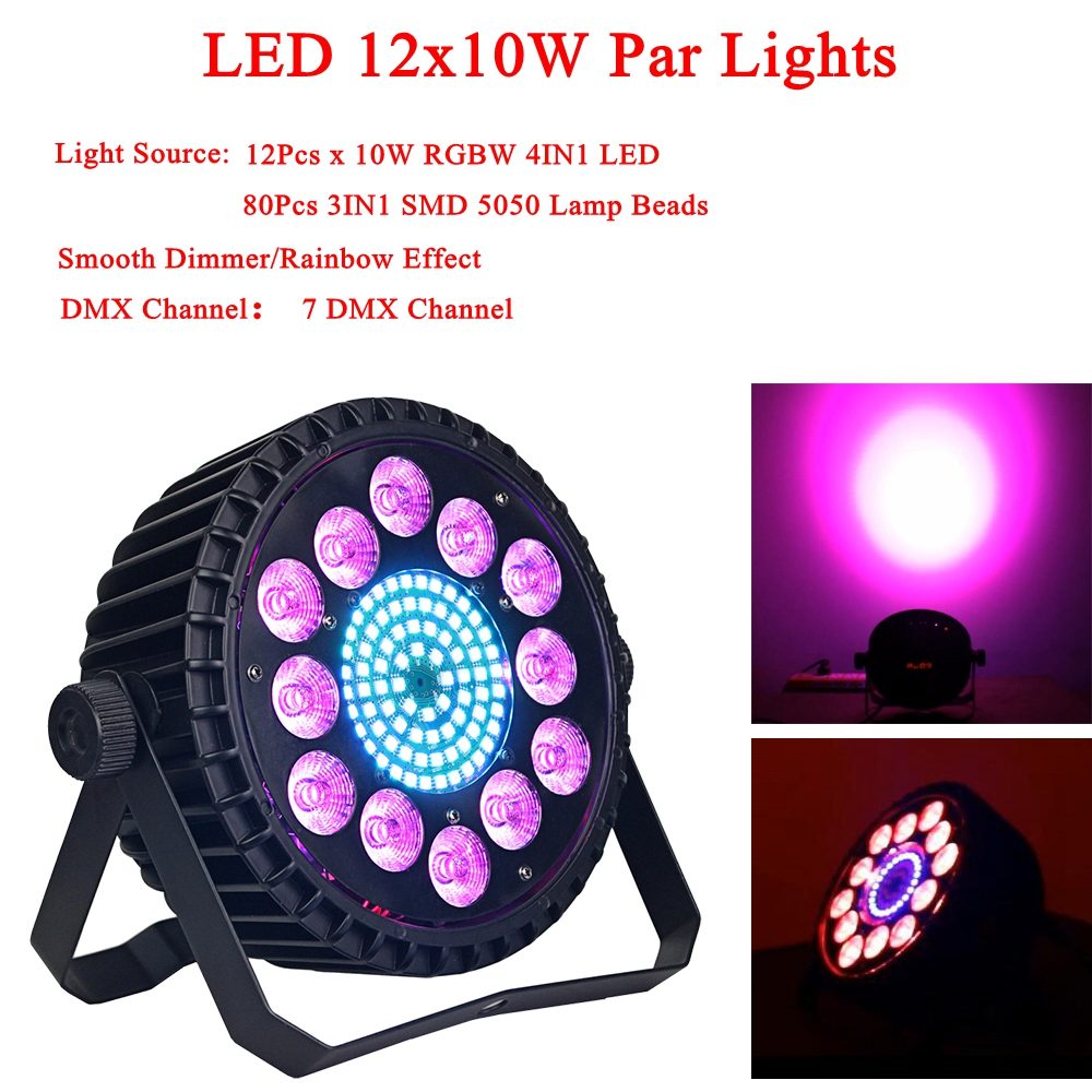 12x10W RGBW 4IN1 LED Par Light And 80Pcs 3IN1 SMD 5050 Lamp Beads Color Mixing DJ Wash Light Stage Uplighting Disco DJ DMX512 fast shipping led 54x3w rgbw led flat par rgbw color mixing dj wash light stage uplighting ktv disco dj dmx512