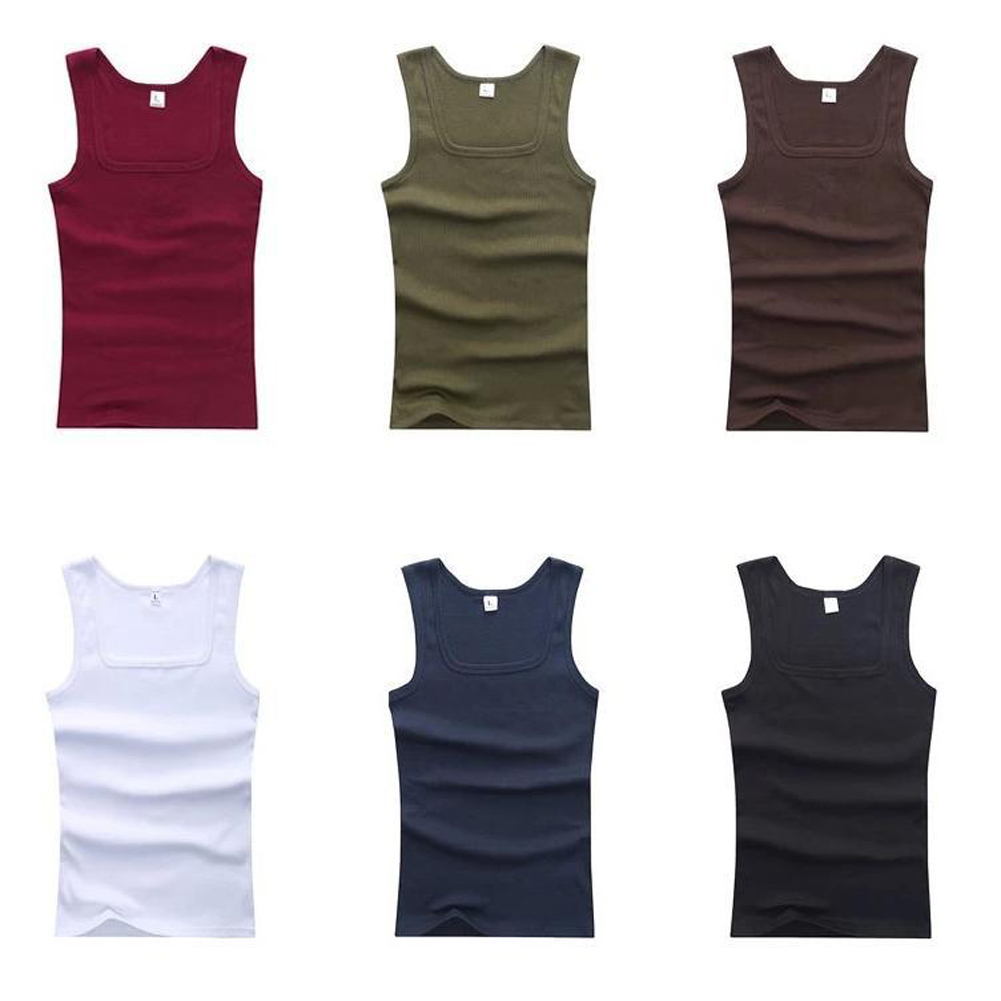 YJSFG HOUSE HOT Sale Men's Casual Tank Tops Summer Bodybuilding Sleeveless Vest Square Collar Fashion Male Tees