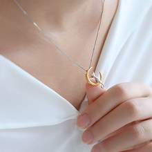 Fashion cat moon pendant necklace Glamor silver gold chain necklace female jewelry(China)