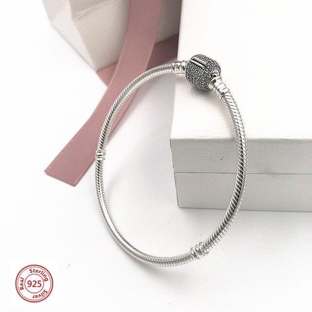 2019 NEW! Perfect Charm Carved silver jewelry bangle 925 bracelet pandoras chain women jewelry lady gift, 1pz