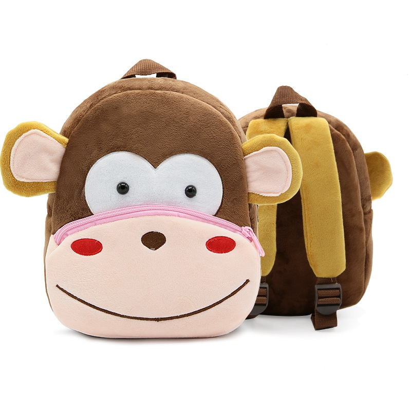Hot Kids Monkey Plush Backpack Animal Cartoon Bags For Childrens Gift Boy Free shipping