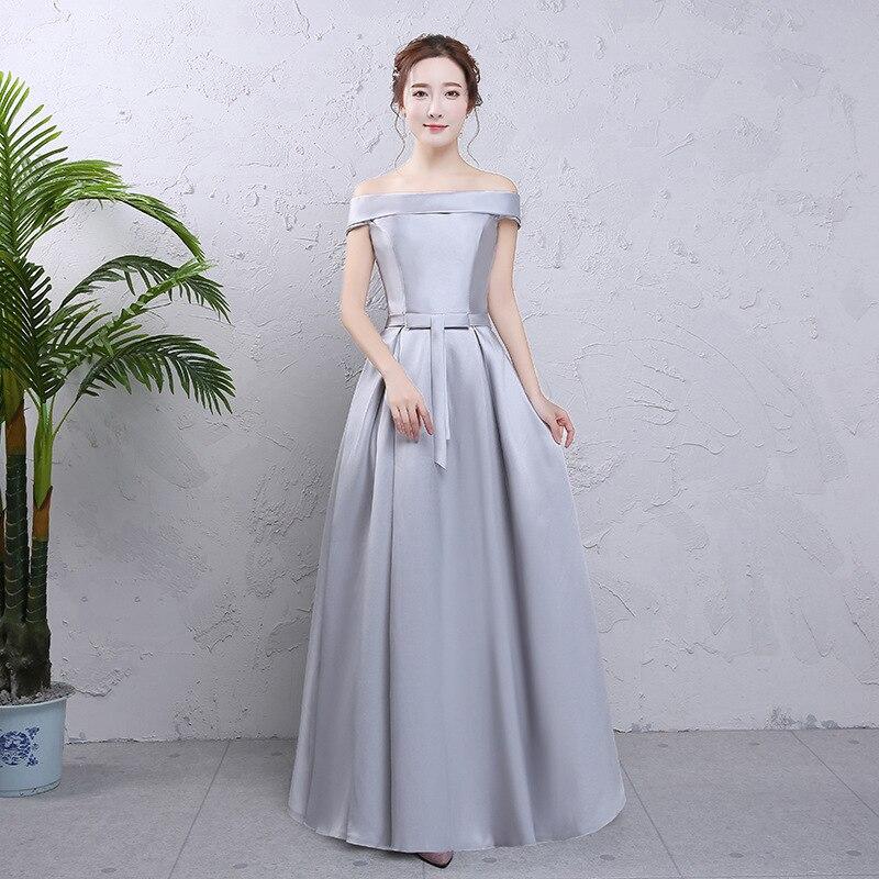 Off Shouler Sexy femmes solide Robe de soirée élégante longueur de plancher demoiselle d'honneur robes de mariée Satin longue Robe Costume S-XXL