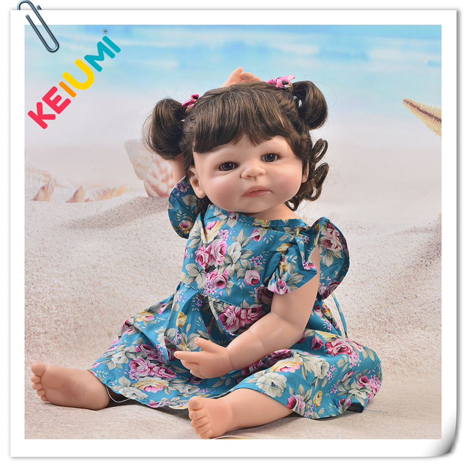 KEIUMI Lovely 23'' Reborn Baby Doll Toys For Girl Realistic Full Vinyl Silicone Reborn Dolls Handmade 57 cm Princess XMAS Gifts цена