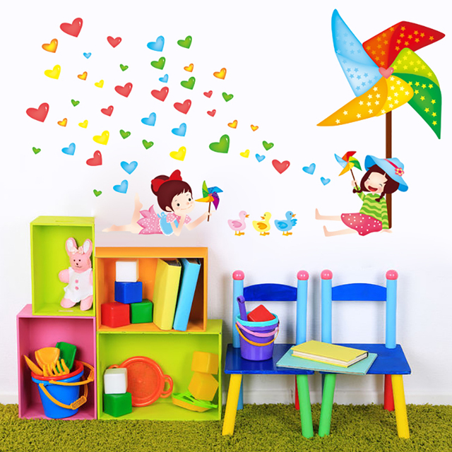Baby Stickers Wall Girl Big Pinwheel Colorful Love Posters For Kids Study  Room/Children Toy Room Decor Mural Decal New Arrival