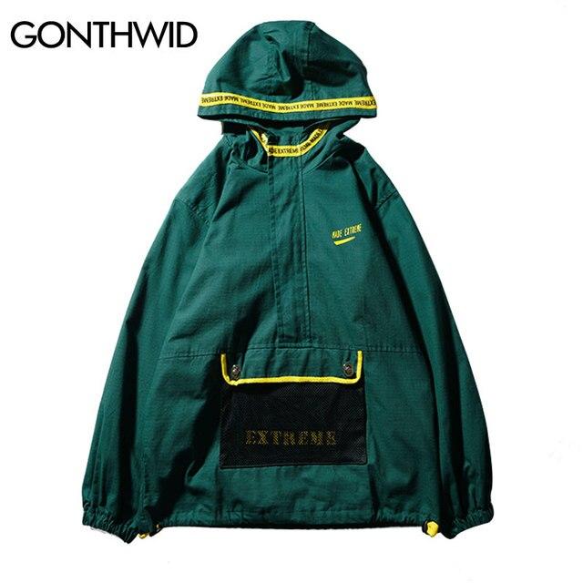 1d7c5d1e90f GONTHWID Front Pocket Half Zip Hooded Windbreaker Jacket Hip Hop Casual  Pullover Hoodie Coat Mens 2018