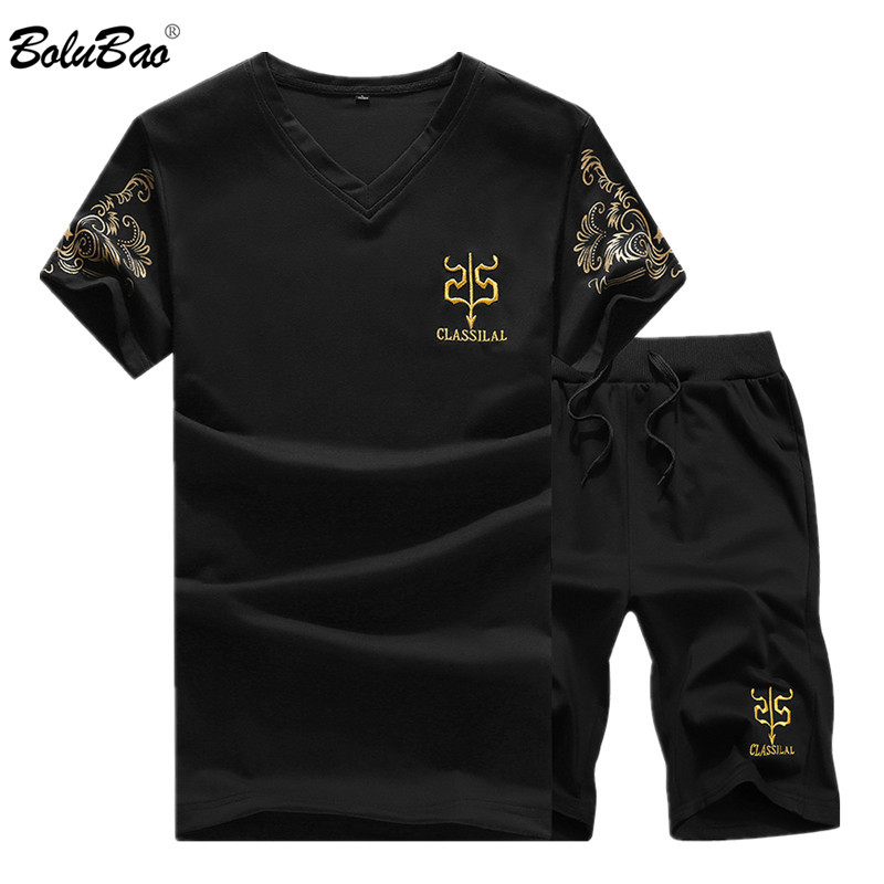 BOLUBAO Summer New Men Sport Sets Mens Suits Short Sleeve Sportswear Slim Fit Elastic Tracksuit T Shirt + Shorts Sets Male