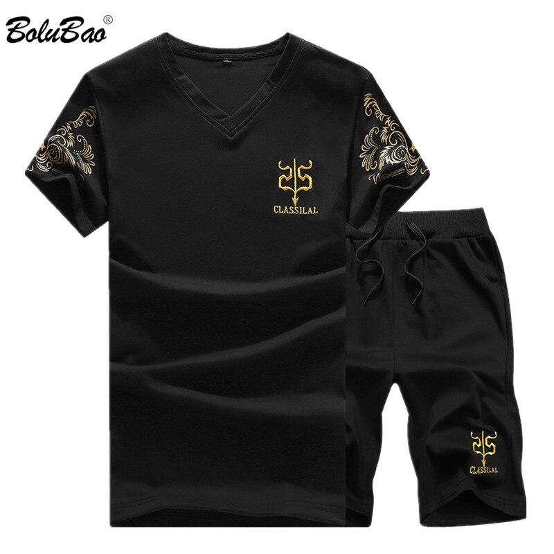 BOLUBAO Summer New Men Sport Sets Mens Suits Short Sleeve Sportswear Slim Fit Elastic Tracksuit T Shirt + Shorts Sets Male