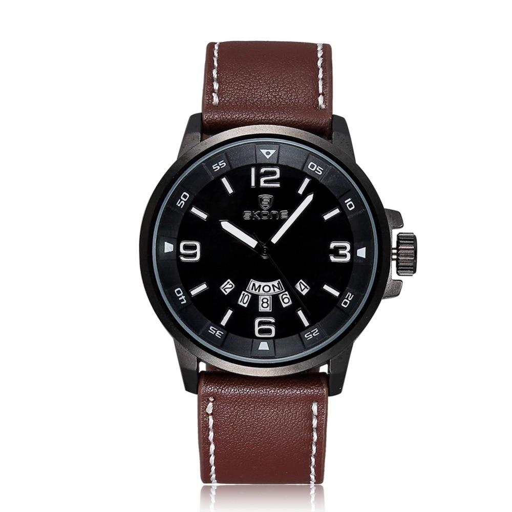ФОТО SKONE New Arrival Luxury Brand Brown Genuine Leather Watch Men Luminous Watch Date Calender Japan Quartz Movement Mens Watches
