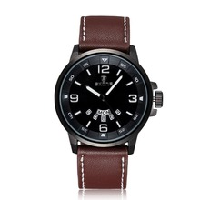 SKONE New Arrival Luxury Brand Brown Genuine Leather Watch Men Luminous Watch Date Calender Japan Quartz Movement Mens Watches